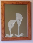 Calla Lillies (Bronze Background with Oak Frame)